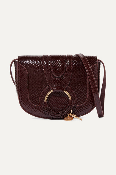 Hanna Mini Snake Effect Leather Shoulder Bag by See By Chloé