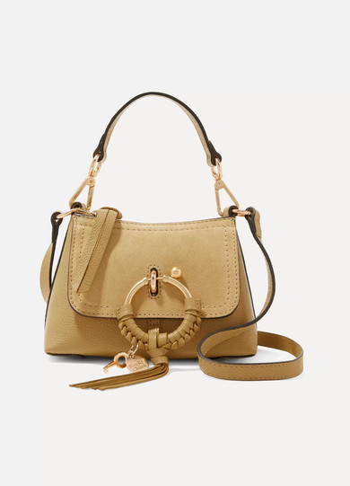 SEE BY CHLOÉ | See By Chloé - Joan Mini Suede-Trimmed Textured-Leather Shoulder Bag - Mustard | Goxip