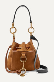 See By Chloé Tony small textured-leather and suede bucket bag