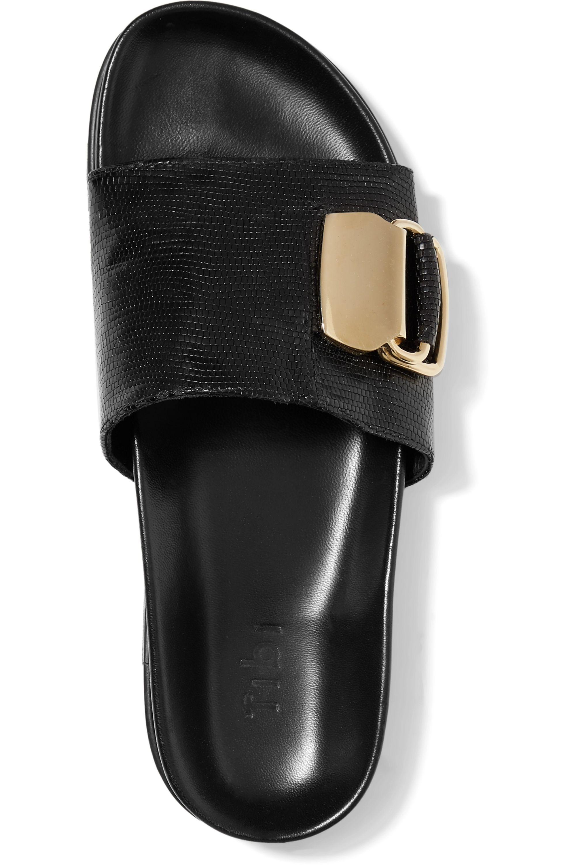 Tibi Hunter embellished snake-effect leather slides