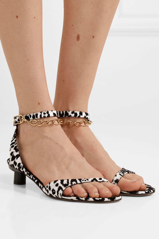 Tibi Nathan chain-embellished leopard-flocked satin sandals