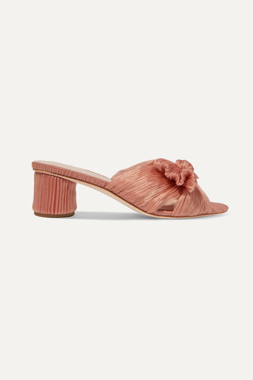 Blush Emilia bow-detailed plissé-lamé