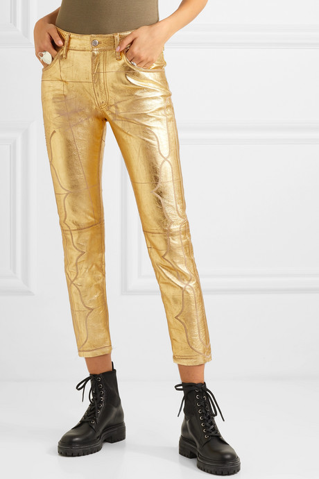 Jolly embroidered metallic crinkled-leather skinny pants