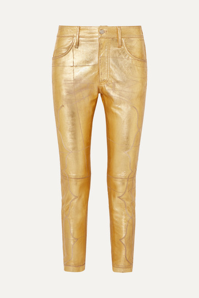 Jolly Embroidered Metallic Crinkled Leather Skinny Pants by Golden Goose