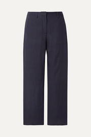 Cropped linen straight-leg pants