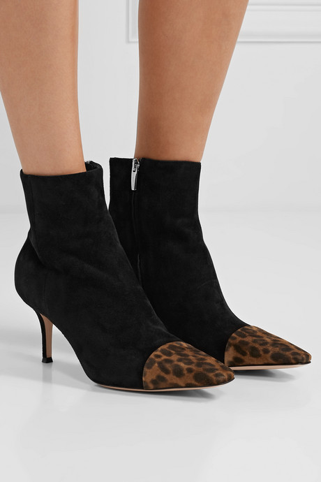 70 two-tone suede ankle boots
