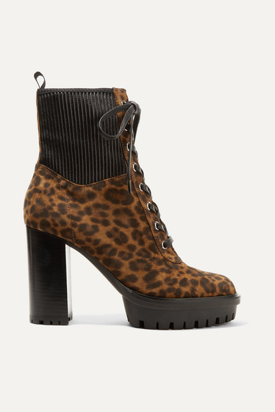 90 Leather Paneled Leopard Print Suede Ankle Boots by Gianvito Rossi