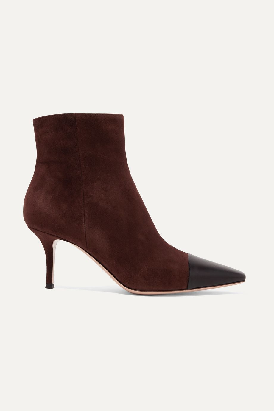 Gianvito Rossi 70 two-tone suede and leather ankle boots