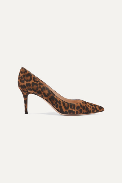 70 Leopard Print Suede Pumps by Gianvito Rossi