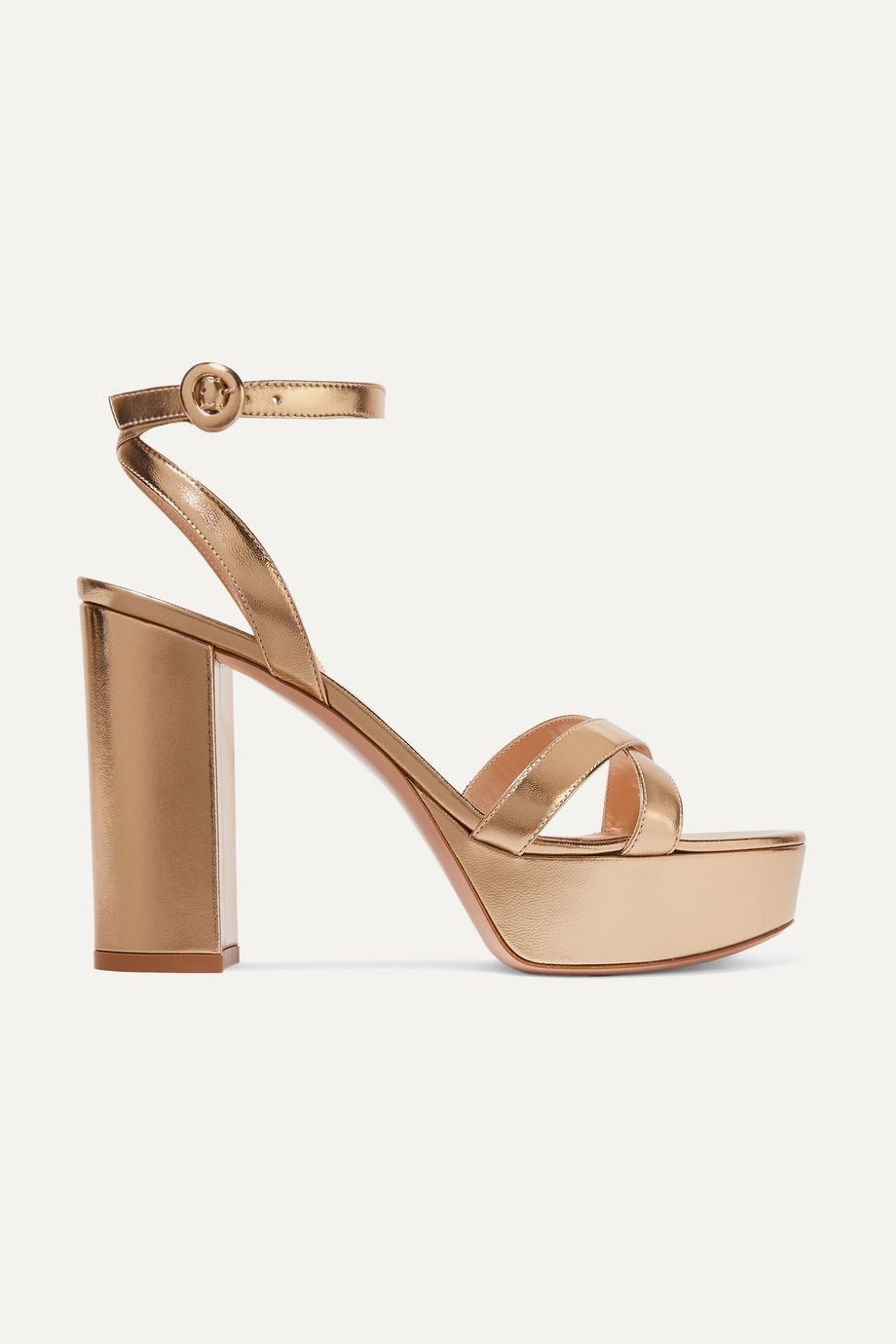Gianvito Rossi Poppy 120 metallic leather platform sandals