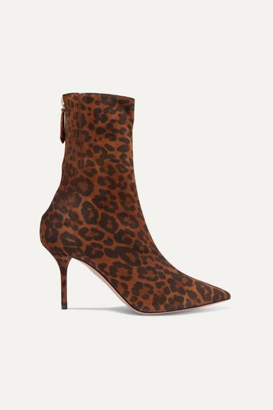 AQUAZZURA | Aquazzura - Saint Honore Leopard-Print Suede Sock Boots - Leopard Print | Goxip