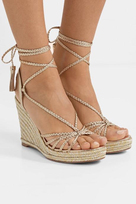 Savannah 120 metallic leather espadrille wedge sandals