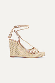 Savannah 120 metallic leather espadrille wedge sandals