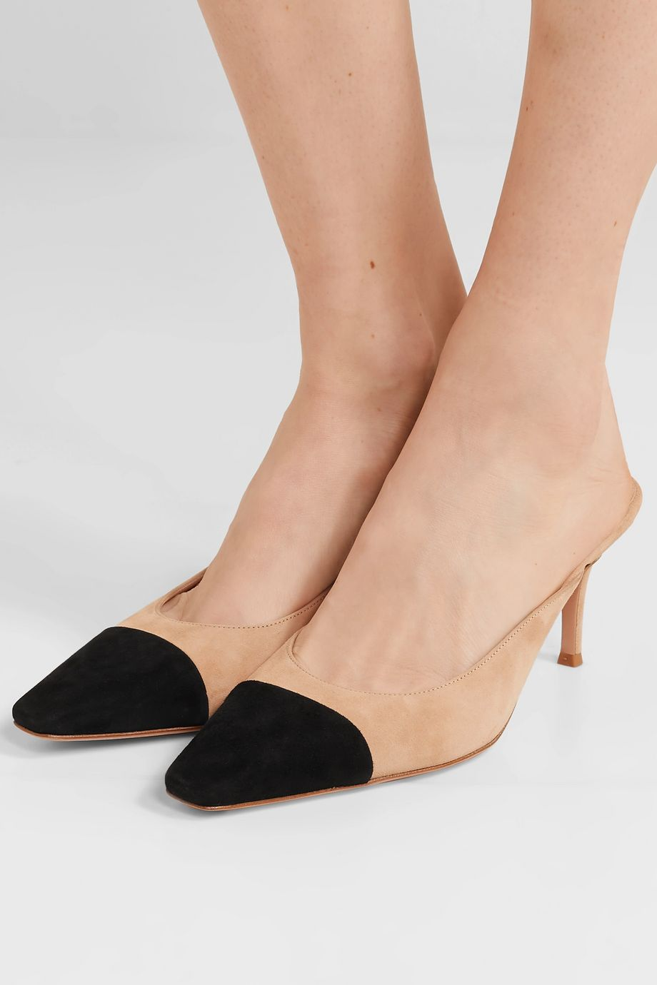 Gianvito Rossi Lucy 70 two-tone leather mules