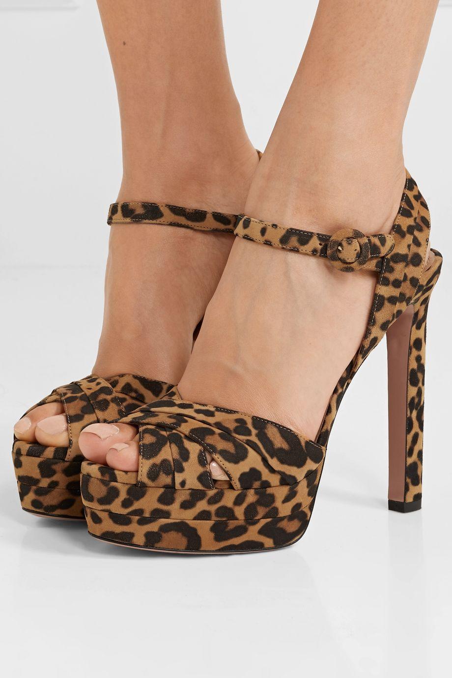 Aquazzura Coquette 140 leopard-print suede platform sandals