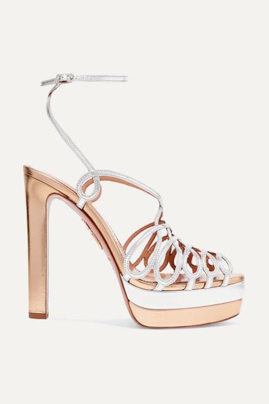 AQUAZZURA | Aquazzura - Monroe Plateau 130 Two-Tone Metallic Leather Platform Sandals - Gold | Goxip