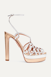 Aquazzura Monroe Plateau 130 two-tone metallic leather platform sandals