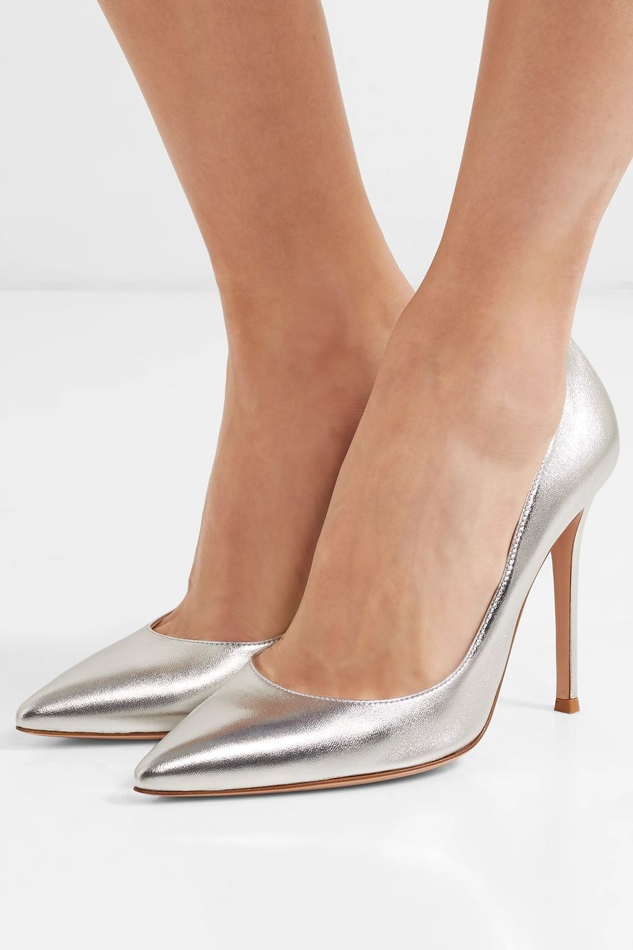 Gianvito Rossi 105 metallic leather pumps