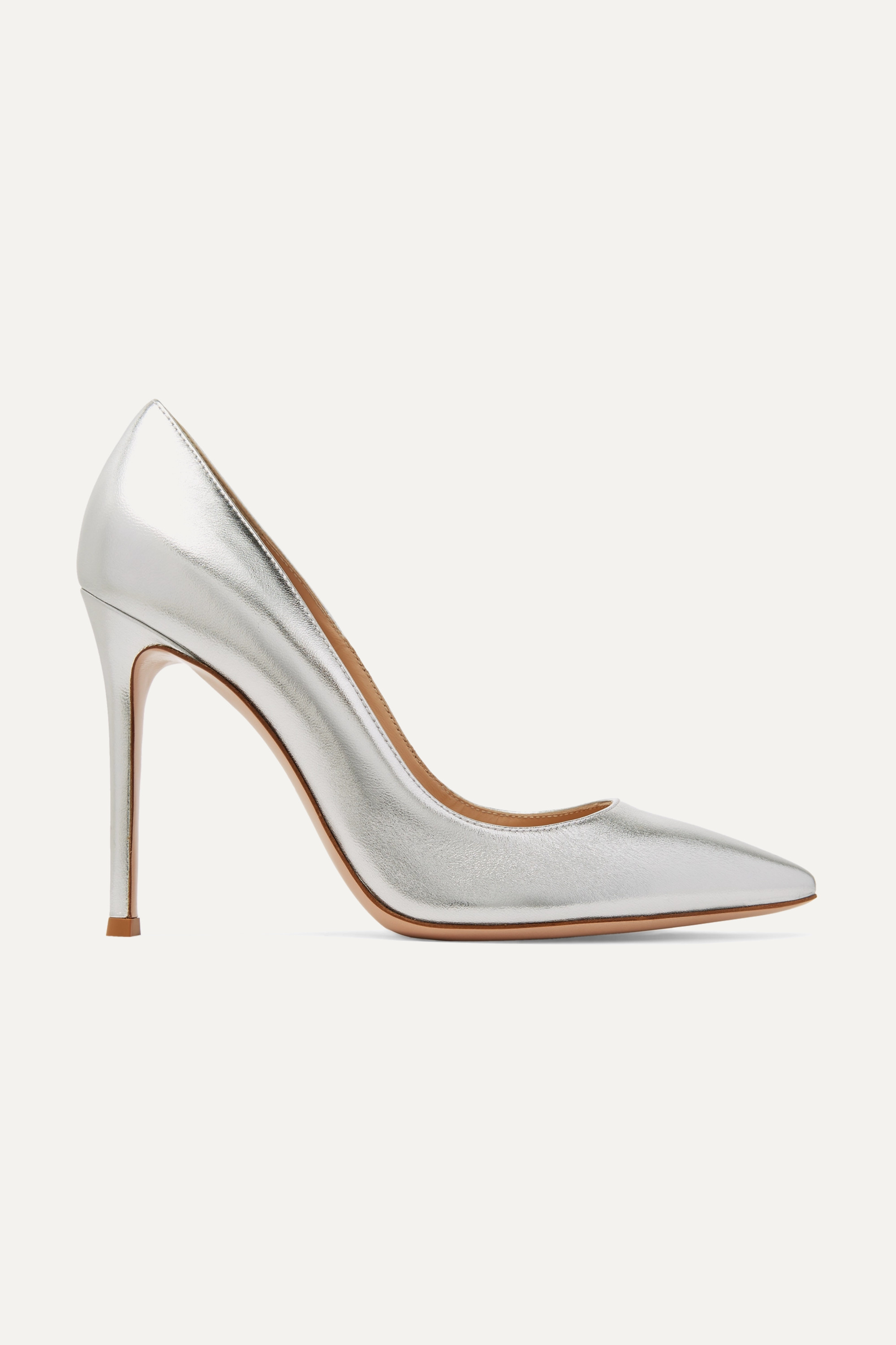Silver 105 metallic leather pumps