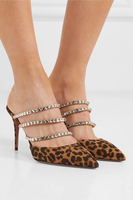 Donata Swarovski crystal-embellished leopard-print suede mules
