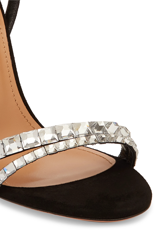 Aquazzura So Vera 105 Sandalen aus Veloursleder mit Kristallen