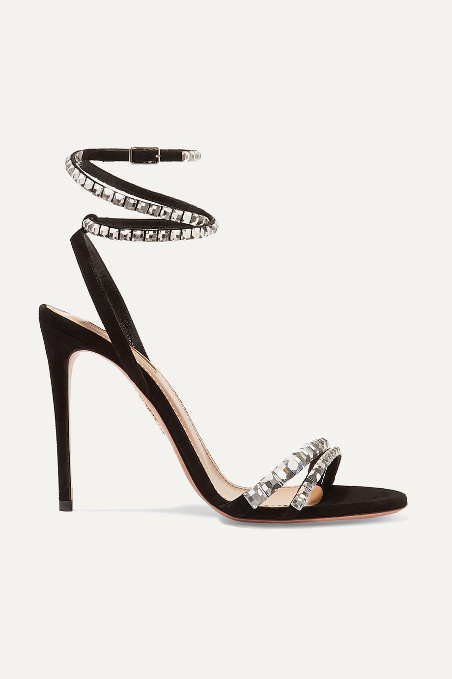Aquazzura So Vera 105 crystal-embellished suede sandals