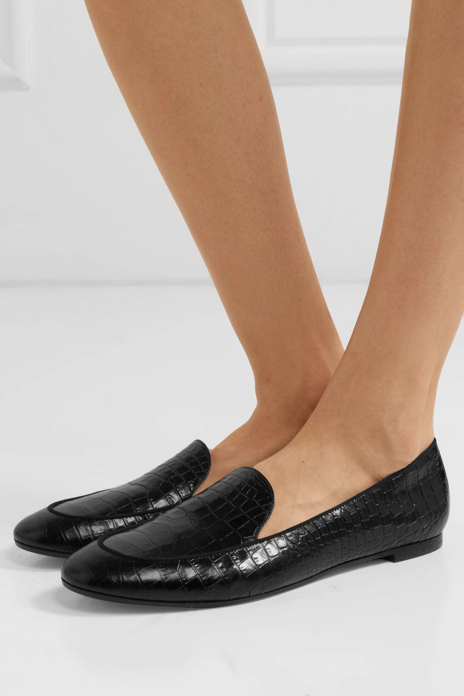 Aquazzura Purist glossed croc-effect leather loafers