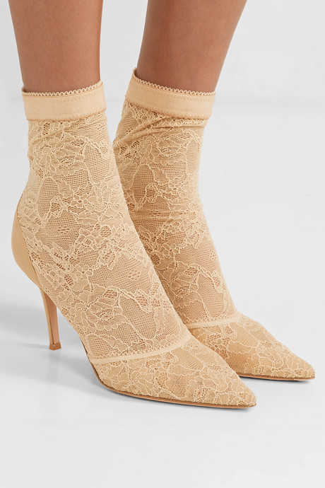 Brinn 85 stretch-lace and leather sock boots