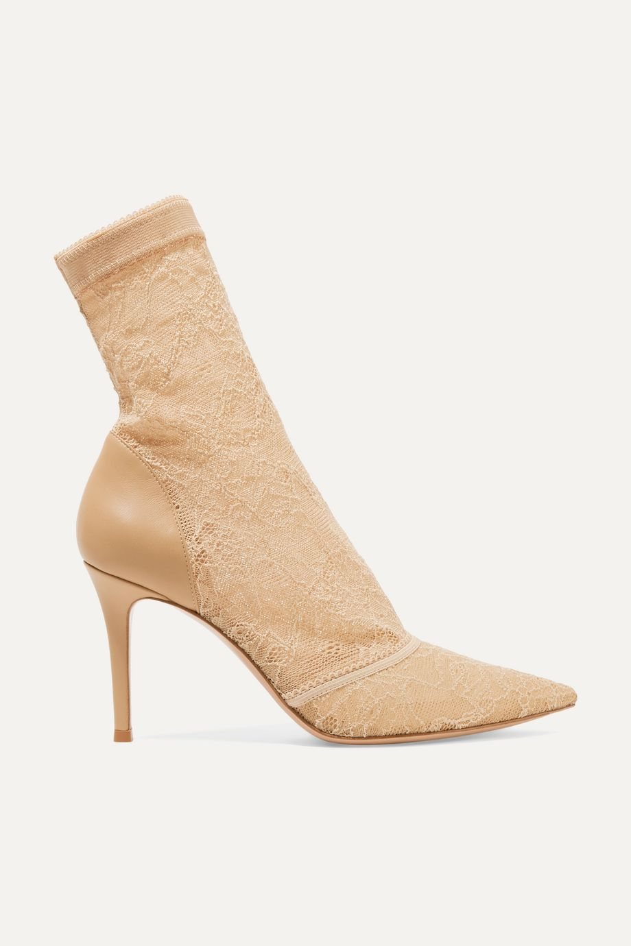 Gianvito Rossi Brinn 85 stretch-lace and leather sock boots