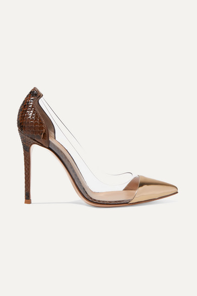 Plexi 105 Python, Metallic Leather And Pvc Pumps by Gianvito Rossi