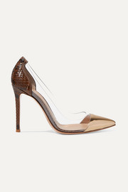 Gianvito Rossi Plexi 105 python, metallic leather and PVC pumps