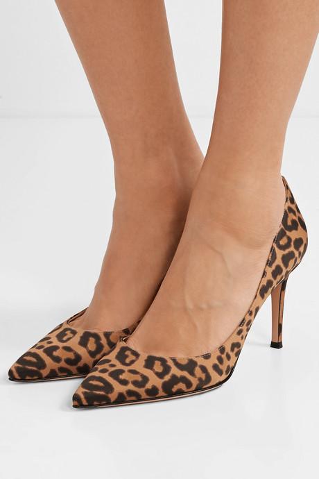 85 leopard-print satin pumps