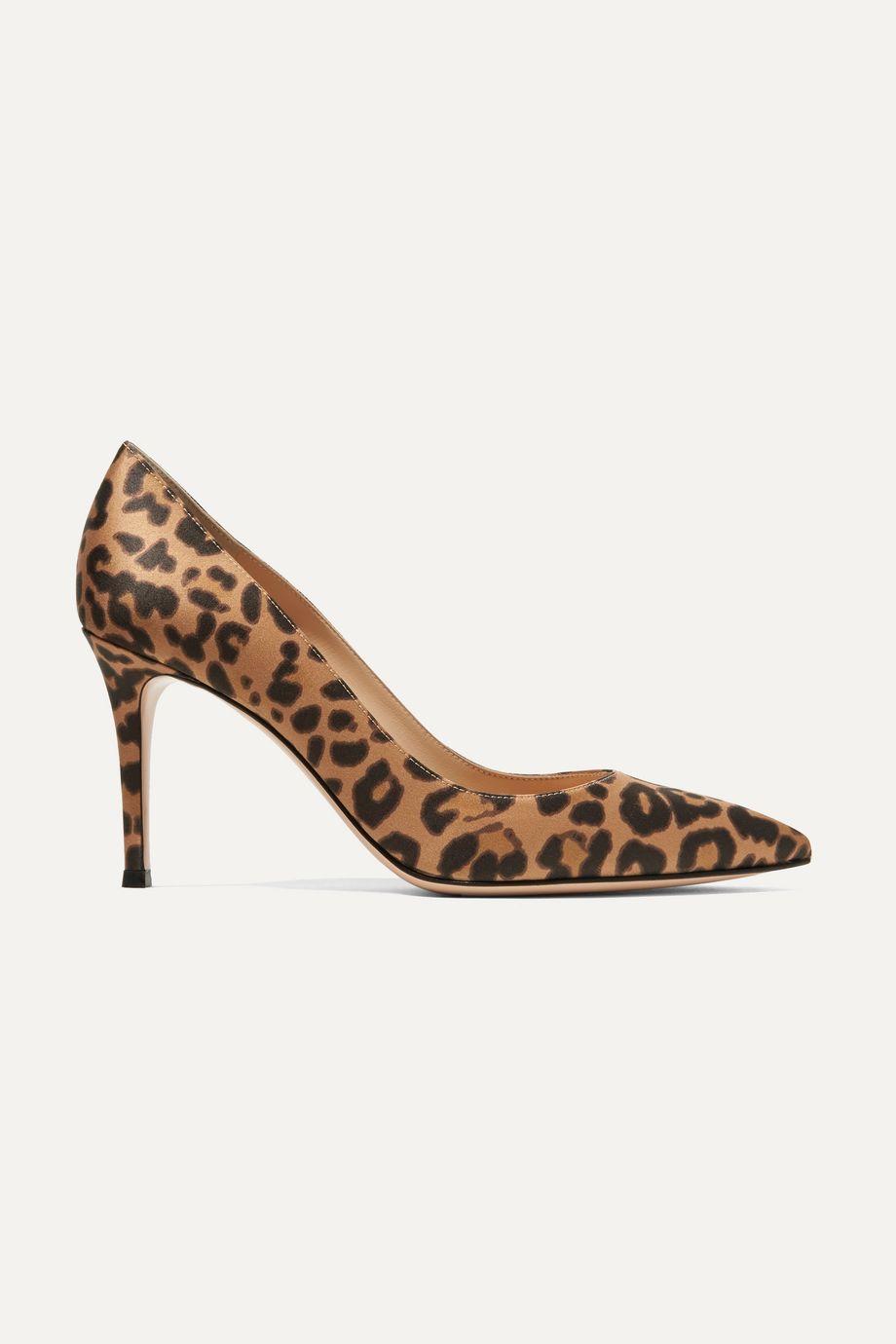 Gianvito Rossi 85 leopard-print satin pumps