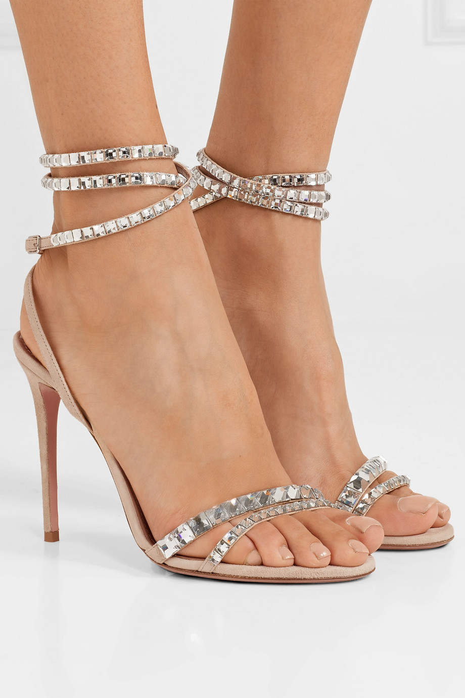 Aquazzura Sandales en daim à cristaux So Vera 105