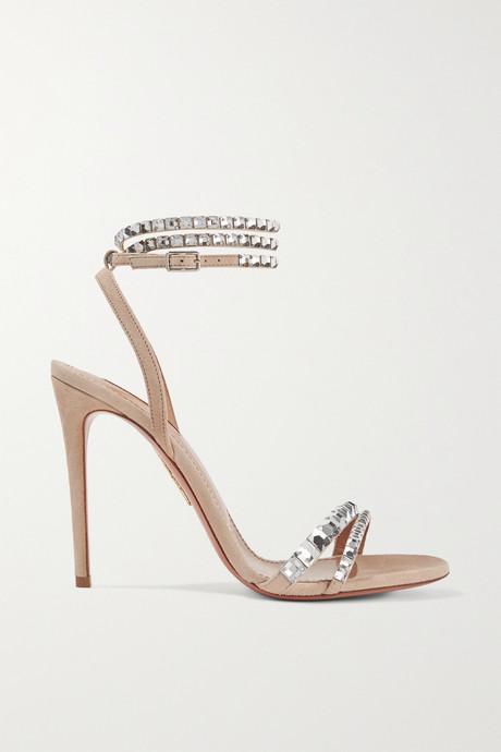 Beige So Vera 105 crystal-embellished suede sandals | Aquazzura sEvBIJ