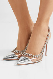 Temptation 105 crystal-embellished metallic leather and PVC slingback pumps