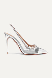 Aquazzura Temptation 105 crystal-embellished metallic leather and PVC slingback pumps