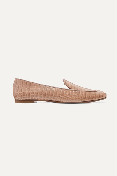 AQUAZZURA | Aquazzura - Purist Croc-Effect Leather Loafers - Antique Rose | Goxip