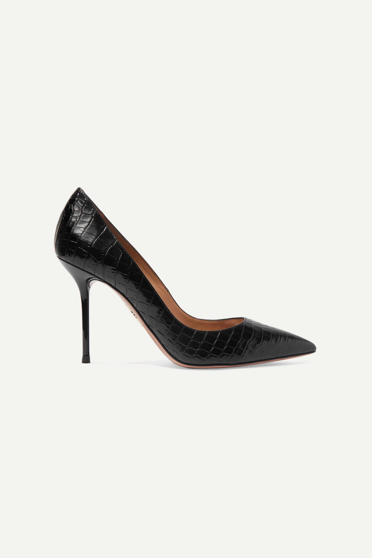 Aquazzura Purist 95 仿鳄鱼纹皮革高跟鞋