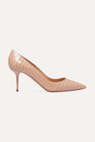 AQUAZZURA | Aquazzura - Purist 75 Croc-Effect Leather Pumps - Beige | Goxip