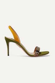 Aquazzura So Nude 85 color-block suede and snake-effect leather slingback sandals