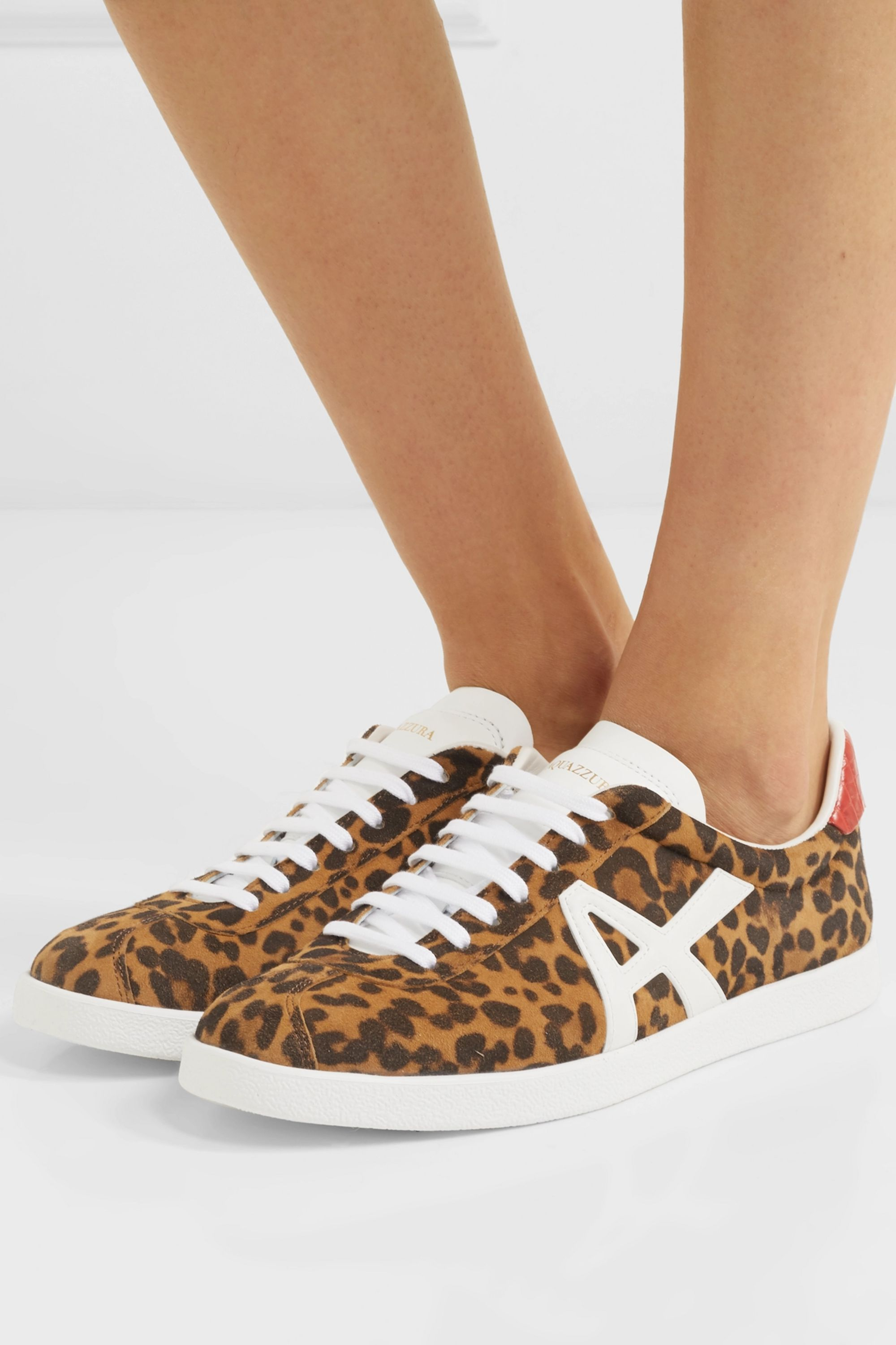 Leopard print The A leather-trimmed