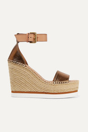 See By Chloé Metallic leather espadrille wedge sandals