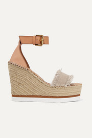 See By Chloé Canvas and leather espadrille wedge sandals