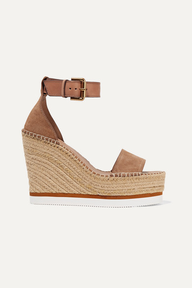 8d78b211 Suede and leather espadrille wedge sandals