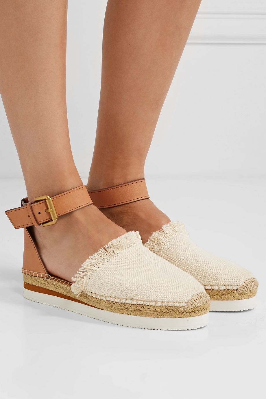 See By Chloé Leather and canvas platform espadrilles