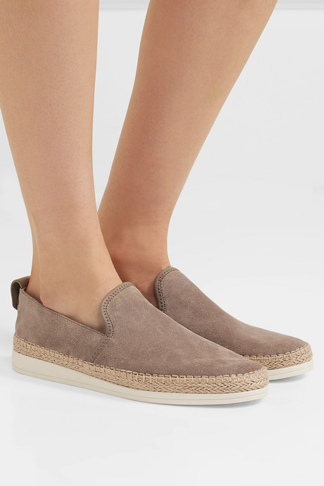 Silas leather-trimmed suede espadrille slip-on sneakers