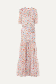 Mick ruched floral-print silk-chiffon maxi dress