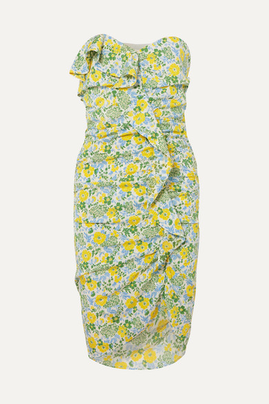Ruffled Floral Print Silk Blend Georgette Midi Dress by Veronica Beard