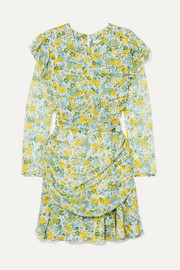 Ruched floral-print silk-chiffon mini dress